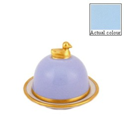 Sous le Soleil Duck butter dish, small, opal with classic matt gold band