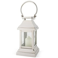 Station Lantern, H28 x W13 x D13cm, glass and nickle plate