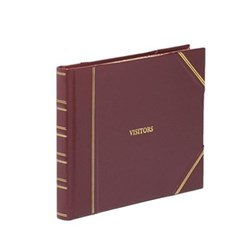 Classic Range Visitors book with lined pages, 22 x 28.5cm, burgundy with gold corners