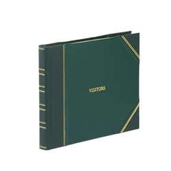 Classic Range Visitors book with lined pages, 22 x 28.5cm, green with gold corners