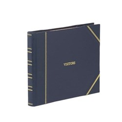 Classic Range Visitors book with plain pages, 22 x 28.5cm, blue with gold corners