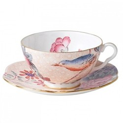Harlequin Collection - Cuckoo Tea Story Teacup and saucer, 18cl, peach