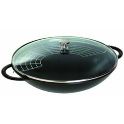 Wok with glass lid, 37cm, black