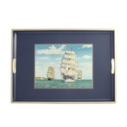 Traditional Range - Tall Ships Traditional tray, 55 x 39.5cm, Oxford blue