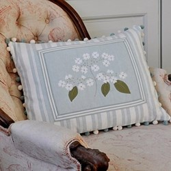Flower - Framed Lacecap Hydrangea Cushion, 45 x 50cm, blue