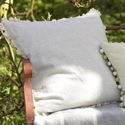 Thickweave Fringe Cushion, plain, 45 x 45cm, duck egg blue