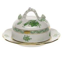 Apponyi Covered butter dish with branch handle, 15.5cm, green