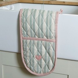 Duck Egg Blue Stripe With Heart Oven gloves