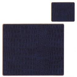 Texture Range - Croc Set of 4 continental placemats, 39 x 29cm, blue