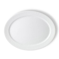 White Fluted Oval plate, 33cm