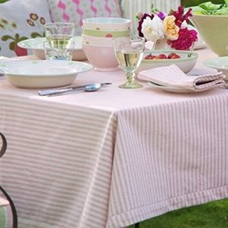 Rose and Ivory Stripe Tablecloth, 250 x 150cm