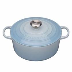 Signature Cast Iron Round casserole, 24cm - 4.2 litre, coastal blue