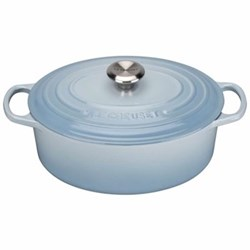 Signature Cast Iron Oval casserole, 25cm - 3 litre, coastal blue