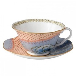 Harlequin Collection - Butterfly Bloom Teacup and saucer, blue