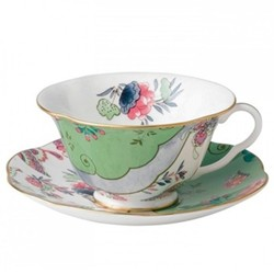 Harlequin Collection - Butterfly Bloom Teacup and saucer, green