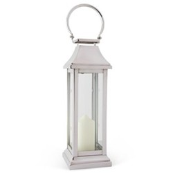 Station Lantern, H51 x W17 x D17cm, glass and nickle plate