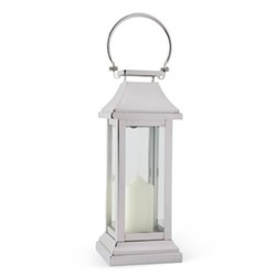 Station Lantern, H40.5 x W15 x D15cm, glass and nickle plate
