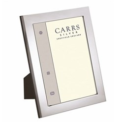 """Flat Series Photograph frame, 7 x 5"""", silver plate with mahogany finish back"""