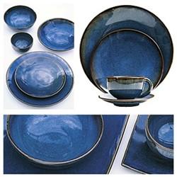 Tourron Pair of soup plates, 19cm, indigo