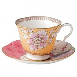 Harlequin Collection - Butterfly Bloom Teacup and saucer, yellow