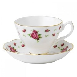 New Country Roses - Vintage Teacup and saucer, white