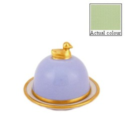 Sous le Soleil Duck butter dish, small, pastel green with classic matt gold band