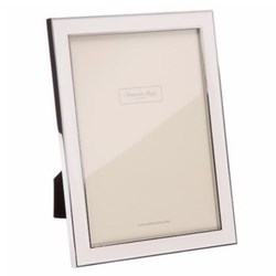 "Enamel Range Photograph frame, 5 x 7"" with 15mm border, white with silver plate"