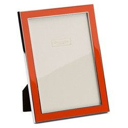 """Enamel Range Photograph frame, 5 x 7"""" with 15mm border, orange with silver plate"""