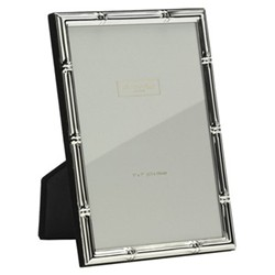 """Bamboo Photograph frame, 4 x 6"""" with 10mm border, silver plate"""