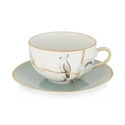Oiseau d'Orient Round teacup and saucer, 20cl, duck egg blue