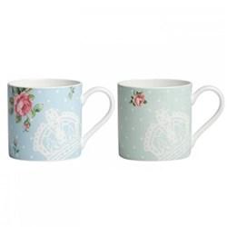Polka Rose and Polka Blue Pair of mugs