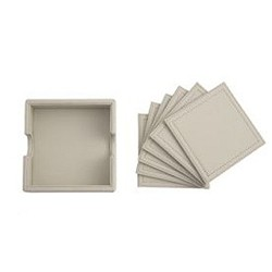 Leather Set of 6 coasters, 11 x 9cm, taupe