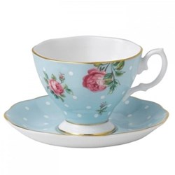 Polka Blue - Vintage Espresso cup and saucer
