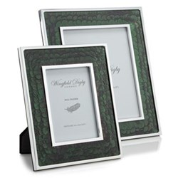 "Feather and Glass Photograph frame, 7 x 5"", green pheasant"