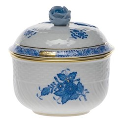 Apponyi Covered sugar bowl with rose handle, 8.5 x 7.8cm, blue