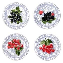 Oiseau Bleu Fruits Set of 4 canape plates, 16.5cm