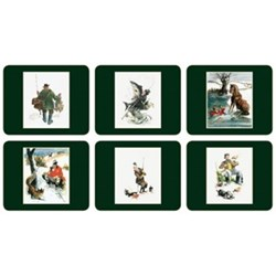 Traditional Range - Gilroy Country Sports Set of 6 coasters, 11 x 9cm, bottle green