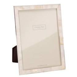 "Mother of Pearl Photograph frame, 4 x 6"", silver/cream"