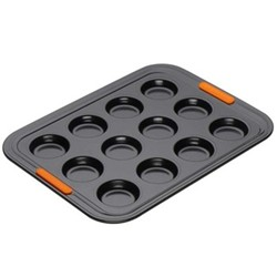 Bakeware 12 cup bun tray, 40 x 30cm, black