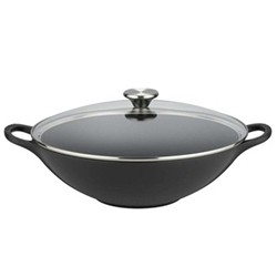 Signature Cast Iron Wok with glass lid, 32cm, satin black