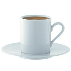 Dine Set of 4 espresso cups and saucers, 90ml, white
