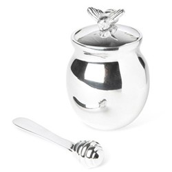 Bee Honey pot with spreader, 10cm, silver plate