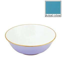 Sous le Soleil Open vegetable dish/salad bowl, 25cm, turquoise with classic matt gold band