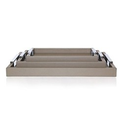 Tray, 31.5 x 21.5cm, grey leather with polished handles