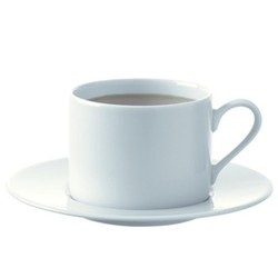 Dine Set of 4 straight tea/coffee cups and saucers, 250ml, white