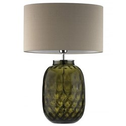 Bubble Glass Table lamp and oval shade, 60cm, olive with pebble shade