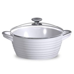 Ceramics Casserole with glass lid, 3.5 litre, white