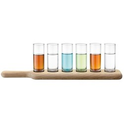 Paddle Set of 6 vodka glasses with oak paddle, 40cm, clear