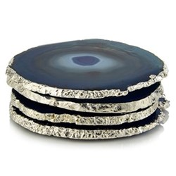 Lumino Set of 4 coasters, approx. D10cm, blue and silver