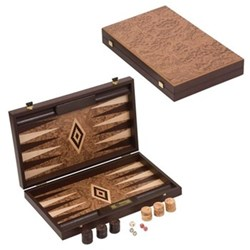 Backgammon set, 60 x 47.5 x 3.75cm open, walnut burl